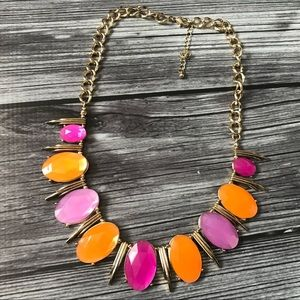 Jewelry - Modern pink and orange Statement necklace in gold